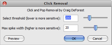 Audacity: Click Removal Pop-Up