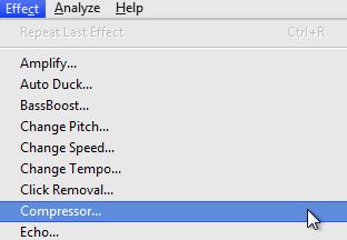 Audacity >> Effect >> Compressor