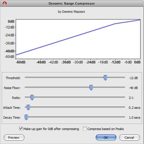 Audacity >> Effect >> Compressor >> Popup