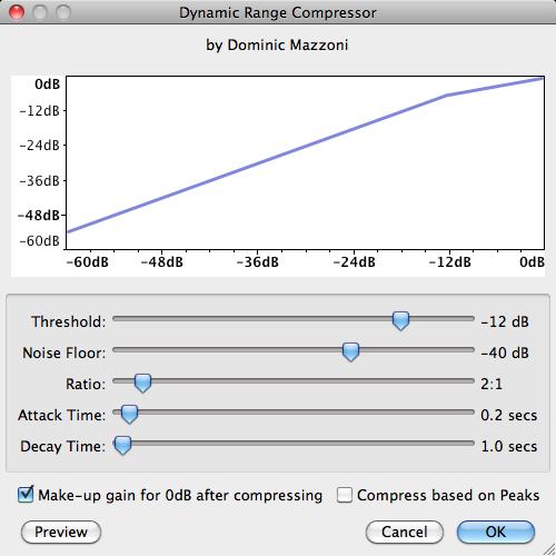Audacity   Mac   Effect >> Compressor >> Popup