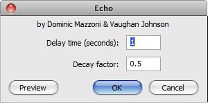 Audacity >> Effect >> Echo >> Pop-Up