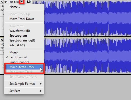 Audacity >> Track Pop-Down >> Make Stereo Track