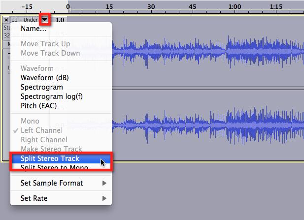 Audacity >> Split Stereo Track