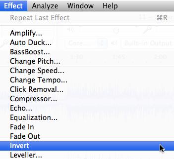 Audacity >> Effect >> Invert