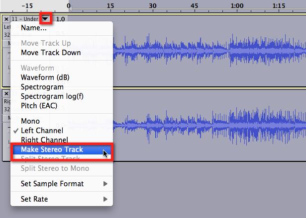 Audacity >> Make Stereo Track