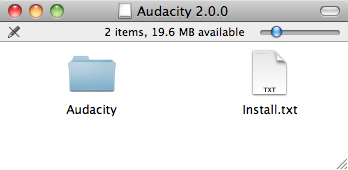Audacity for Mac >> Finder Window