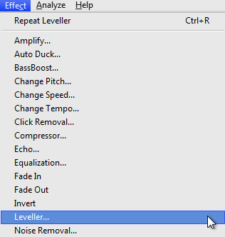 Audacity >> Effect >> Leveller