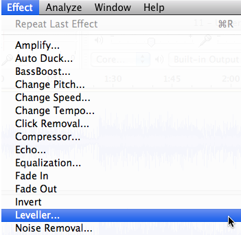 Audacity: Need Distortion? Use Leveller (Mac OS X)