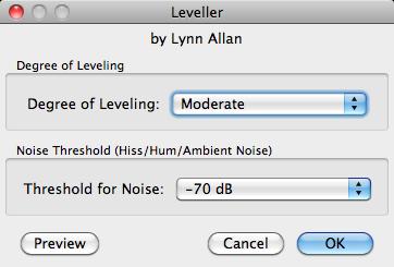 Audacity >> Mac >> Effect >> Leveller >> Pop-up