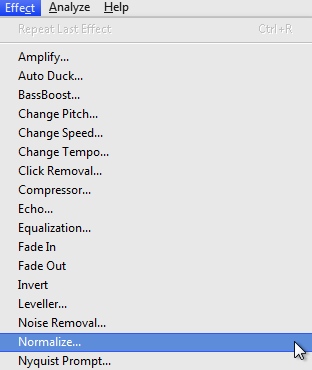 Audacity >> Effect >> Normalize