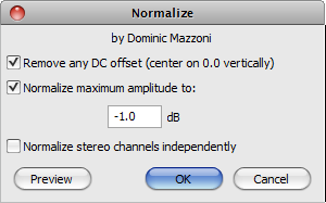 Audacity >> Effect >> Normalize >> Pop-Up