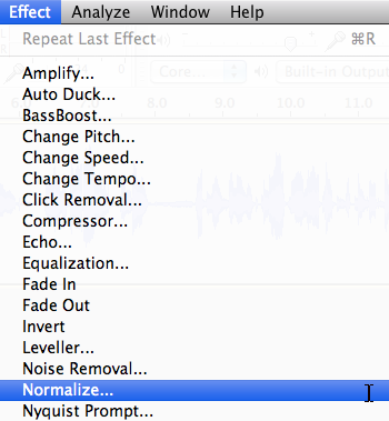 Audacity: Normalize Effect (Mac OS X)