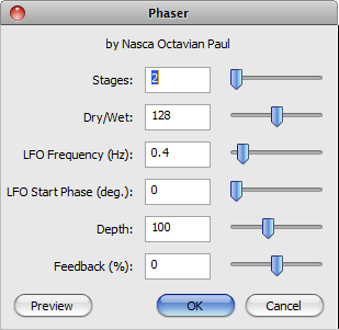 Audacity >> Effect >> Phaser >> Pop-up