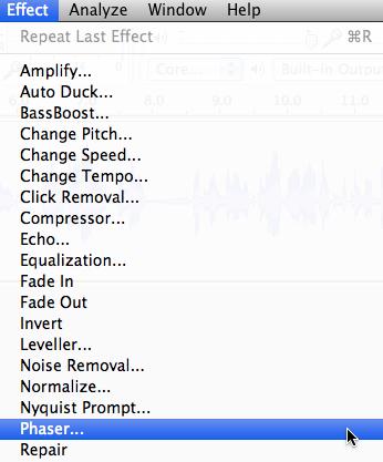 Audacity: Phaser Effect (Mac OS X)