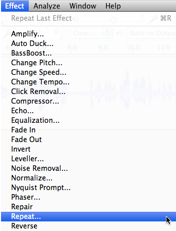 Audacity: Loop, Repeat, Loop, Repeat (Mac OS X)