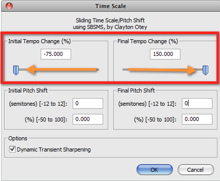 Audacity >> Effect >> Time Slide >> Pop-Up >> Test 1: Tempo