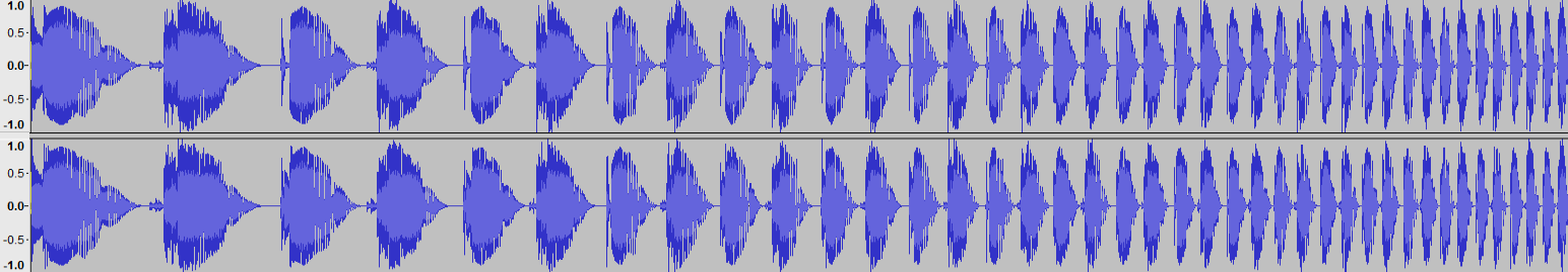 Audacity >> Waveform >> Test 1: Tempo