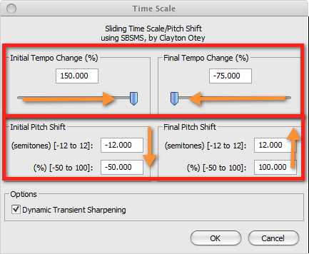 Audacity >> Effect >> Time Scale >> Pop-Up >> Test 3: Tempo + Pitch