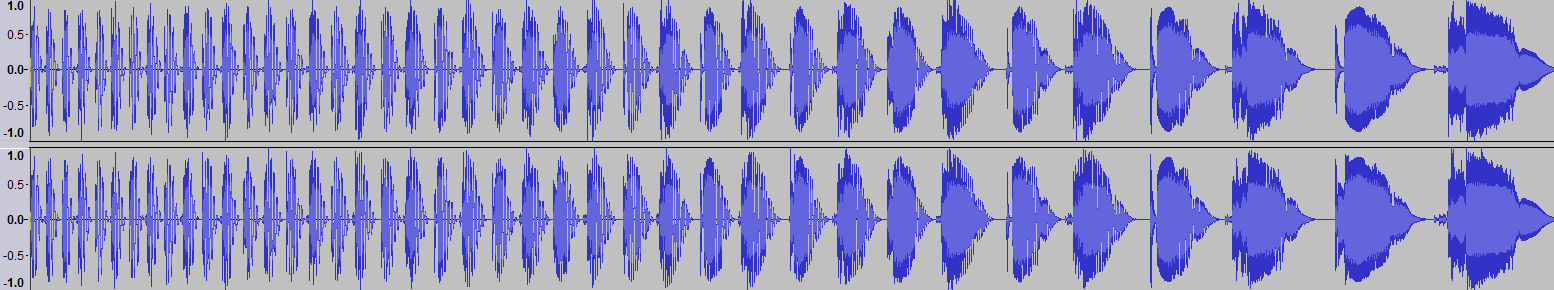 Audacity >> Waveform >> Test 3: Tempo + Pitch