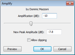 Audacity >> Effect >> Amplify >> Pop-up