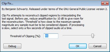 Audacity >> Effect >> Clip Fix >> Popup
