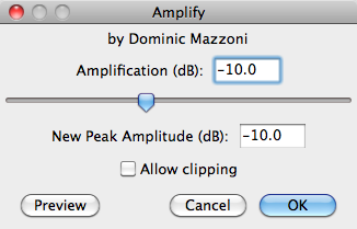 Audacity >> Effect >> Amplify >> Popup