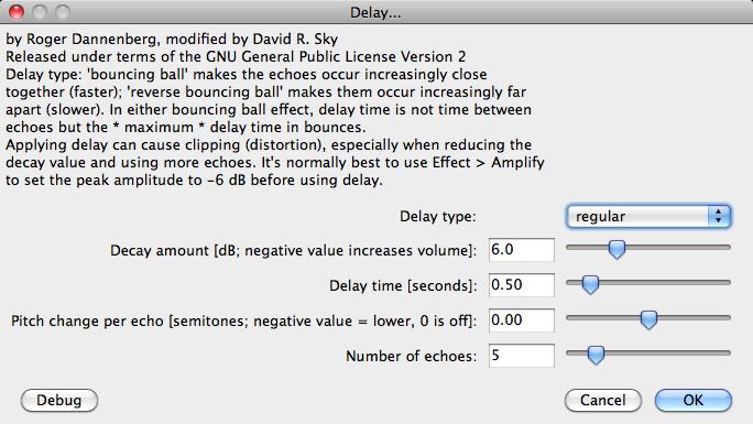 Audacity >> Effect >> Delay >> Popup
