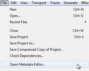 Audacity >> File >> Open Metadata Editor