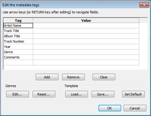 Audacity >> Metadata Editor >> Popup