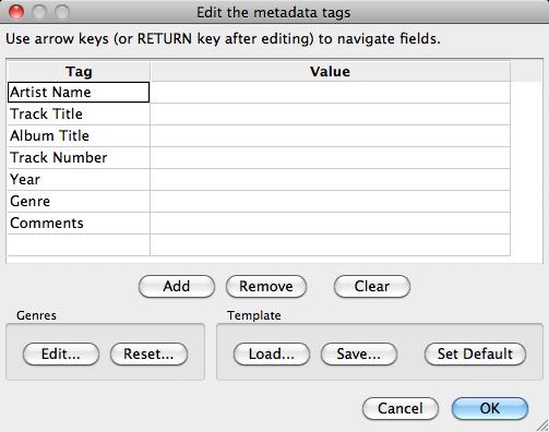 Audacity >> Open Metadata Editor >> Popup