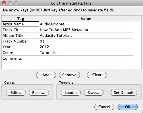 Audacity >> Open Metadata Editor >> Popup with Data