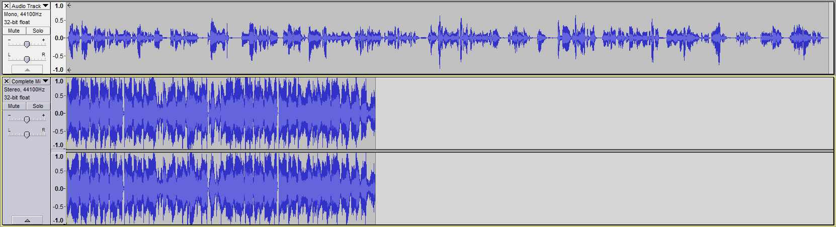 Audacity >> Waveform >> Sample Project