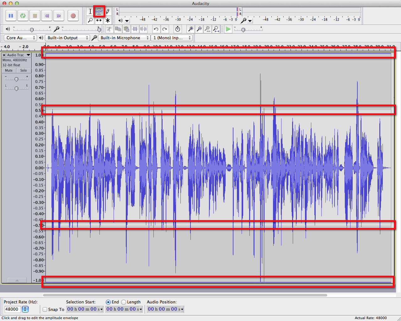 audacity waveform-envelope tool