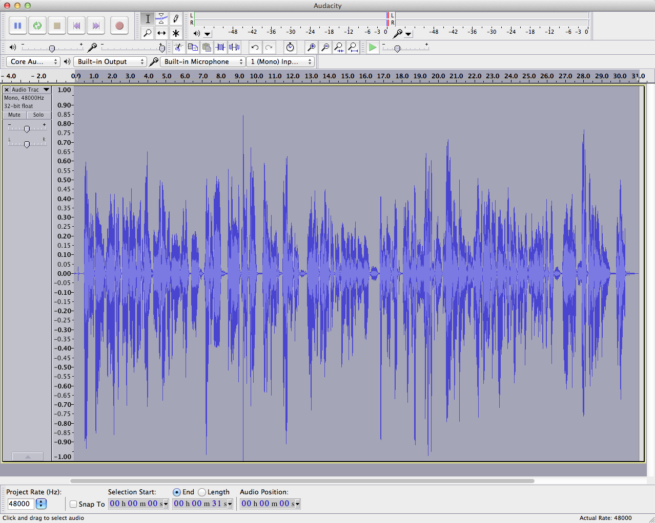 audacity waveform-post amplify