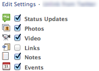 facebook to twitter-edit settings